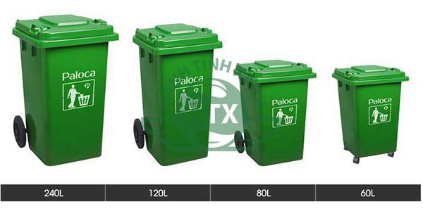Một số dung tích phổ biến của thùng rác nhựa