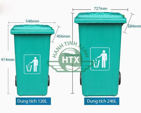 Kích thước và dung tích đa dạng của thùng rác composite