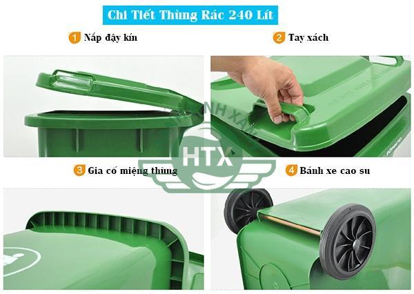 Chi tiết thùng rác nhựa 240 lít nắp đậy kín