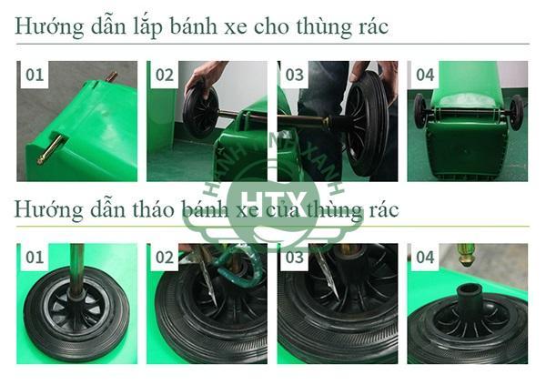 Hướng dẫn lắp đặt và tháo bánh xe thùng rác nhựa