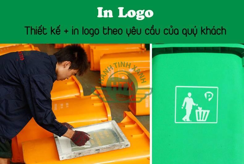 In logo lên thùng rác nhựa 240 lít theo yêu cầu của khách hàng