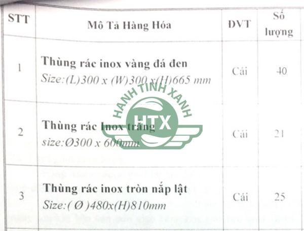 Số lượng thùng rác cảng hàng không quốc tế Vinh đặt mua của công ty Hành Tinh Xanh