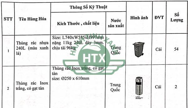 Một phần số lượng thùng rác trong hợp đồng mua bán