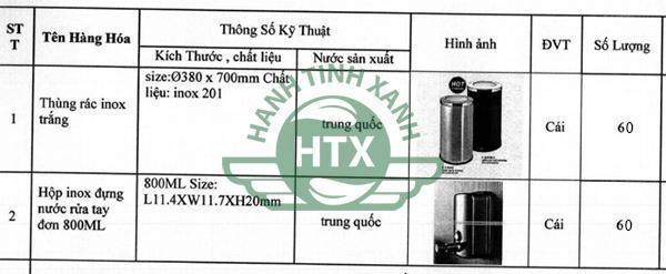 Thùng rác và hộp đựng nước rửa tay mà Hành Tinh Xanh cung cấp cho khách sạn Mường Thanh
