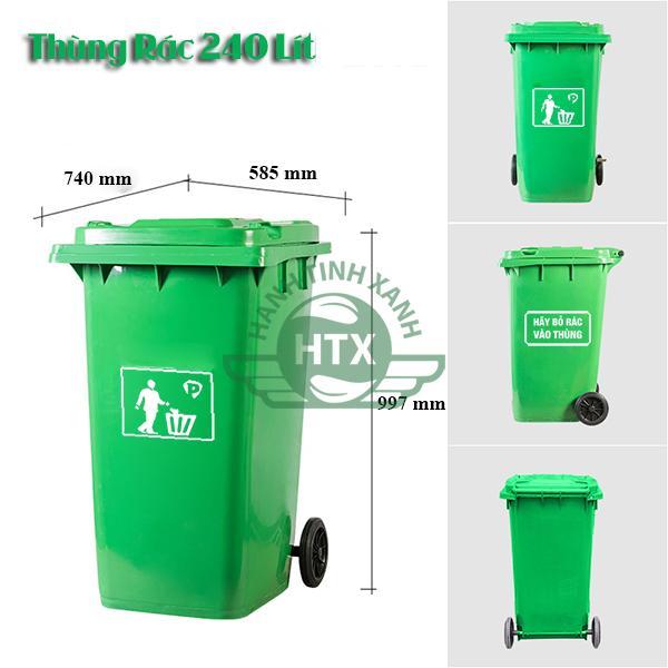 Kích thước thùng rác nhựa 240 lít