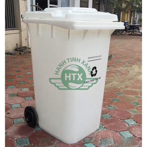 Thùng rác nhựa màu trắng chất liệu HDPE cao cấp