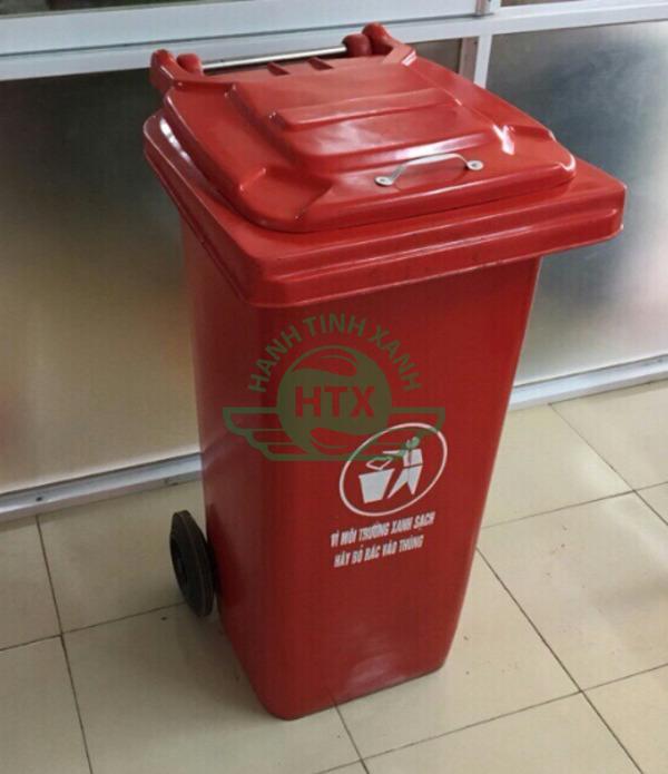 Thùng rác composite dung tích 240L màu đỏ cao cấp, bền bỉ