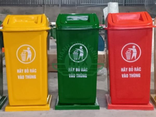 Thùng rác nhựa đế đá dung tích 90L cao cấp, bền đẹp