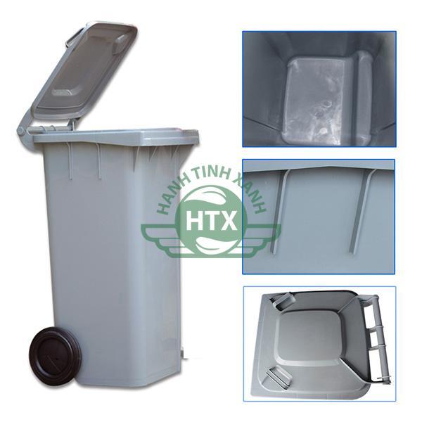 Thùng rác nhựa 240L màu ghi cao cấp, bền bỉ nhất hiện nay
