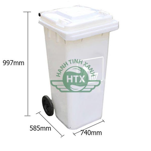 Kích thước thùng rác nhựa 240 lít màu trắng cao cấp