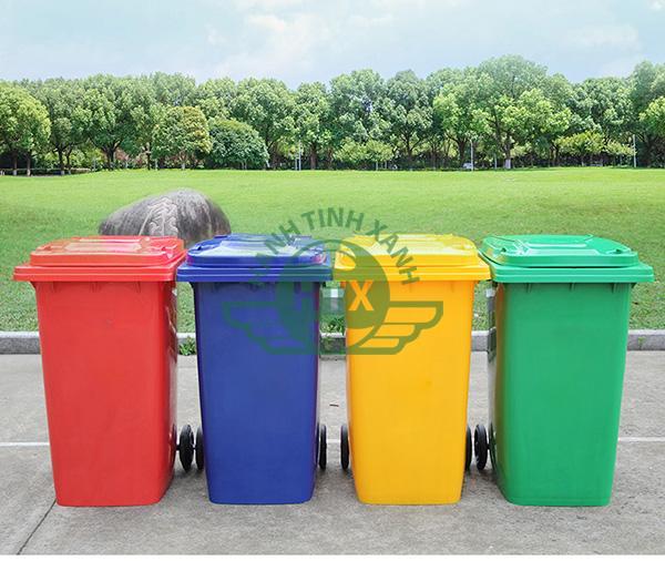Thùng rác nhựa 240 lít có nhiều màu sắc khác nhau