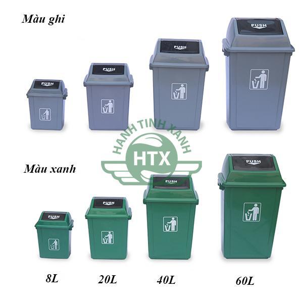Cập nhật giá thành thùng rác nhựa 40L - PUSH màu xanh lá cao cấp