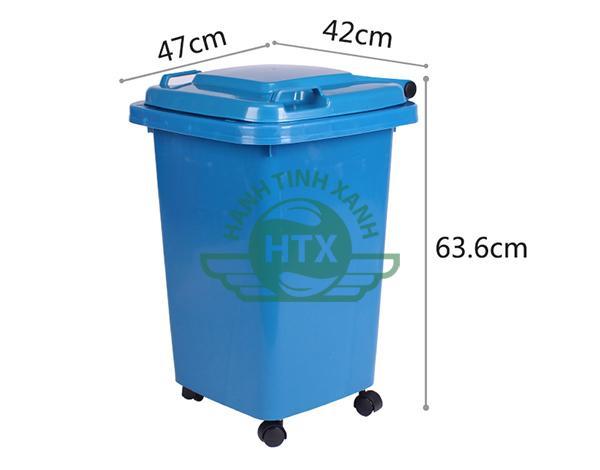 Kích thước thùng rác nhựa 60L màu xanh dương