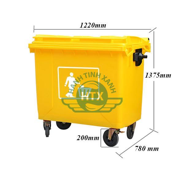 Thông số kỹ thuật thùng rác nhựa 660L màu vàng