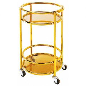 Sản phẩm xe đẩy đồ uống inox mạ vàng hình tròn của công ty