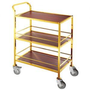 Sản phẩm xe phục vụ cao cấp inox vàng 4 bánh